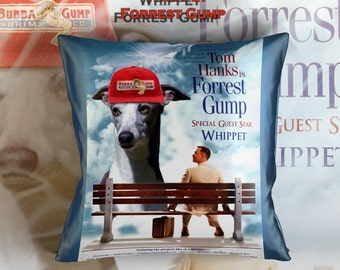 Whippet Art Pillow    Forrest Gump Movie Poster   by Nobility Dogs