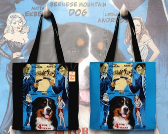 Bernese Mountain Dog Art Tote Bag   4 For Texas Movie Poster by Nobility Dogs