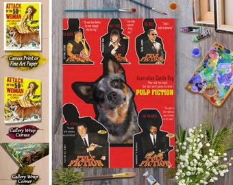 Australian Cattle Dog Art Pulp Fiction Vintage Movie  Poster Dog Lover Christmas Gift by Nobility Dogs