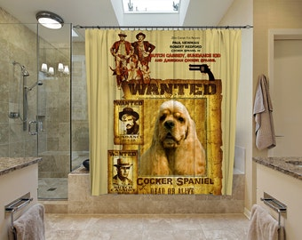 American Cocker Spaniel Art Shower Curtain, Dog Shower Curtains, Bathroom Decor - Butch Cassidy and the Sundance Kid  Movie Poster