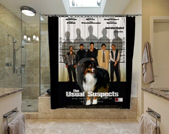 Australian Shepherd Art Shower Curtain, Dog Shower Curtains, Bathroom Decor - The Usual Suspects Movie Poster