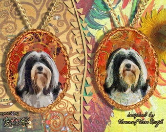 Tibetan Terrier Jewelry Pendant   Brooch Handcrafted Porcelain by Nobility Dogs   Gustav Klimt and Van Gogh