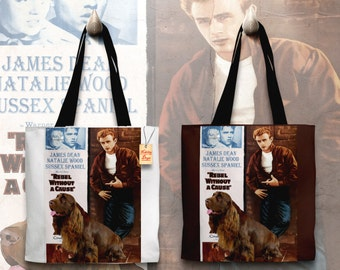 Sussex Spaniel Art Tote Bag Rebel Without a Cause Movie Poster    by Nobility Dogs