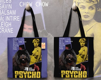 Chow Chow Art Tote Bag   Psycho Movie Poster by Nobility Dogs