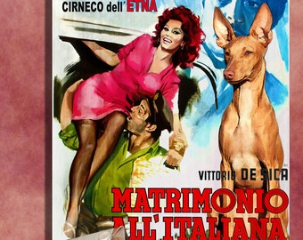 Cirneco dell Etna Vintage Movie Style Poster Canvas Print  - Marriage Italian Style Perfect DOG LOVER GIFT Gift for Her Gift for Him