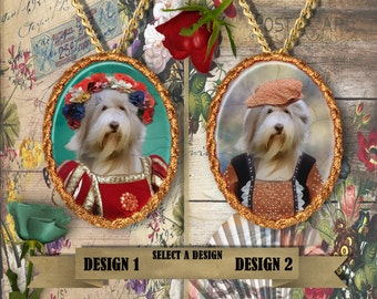 Bearded Collie Jewelry Bearded Collie Dog Aristocratic Portrait Custom Dog Pendant Portrait from Photo Silver or Gold Plated Nobility Dogs