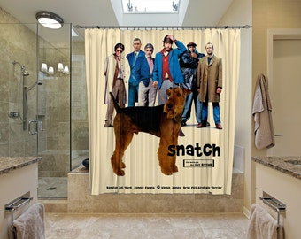Airedale Terrier Art Shower Curtain, Dog Shower Curtains, Bathroom Decor -Snatch Movie Poster