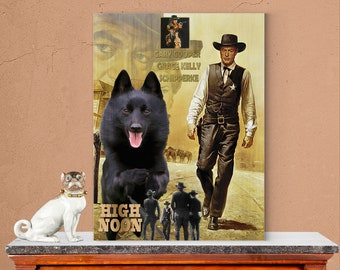 Schipperke Dog Art High Noon Movie Poster Canvas Print Dog Lover Christmas Gift by Nobility Dogs