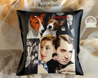 Basenji Art Pillow Case Throw Pillow - Suspicion Movie Poster  Perfect DOG LOVER Gift for Her Gift for Him