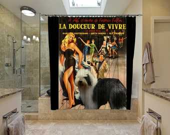 Old English Sheepdog Art Shower Curtain, Dog Shower Curtains, Bathroom Decor - La Dolce Vita Movie Poster