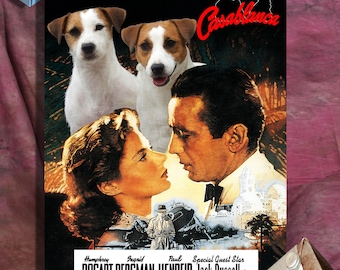 Jack Russell Terrier Art Vintage Movie Style Poster Canvas Print - Casablanca   Perfect DOG LOVER GIFT Gift for Her Gift for Him Home Decor