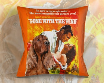 Irish Red Setter Art Pillow Case   Gone with the Wind Movie Poster   by Nobility Dogs