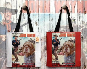 Wirehaired Pointing Griffon Korthals Pointing Griffon Art Tote Bag   The Searchers Movie Poster   by Nobility Dogs