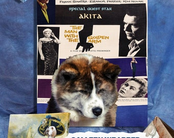 Akita Art The Man with the Golden Arm Movie Poster, Vintage Collage Art  on Canvas, Dog Gifts by Nobility Dogs