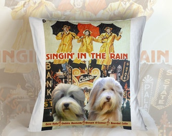 Bearded Collie Art Pillow Singin' in the Rain Movie Poster   by Nobility Dogs