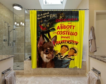 Chihuahua Art Shower Curtain, Dog Shower Curtains, Bathroom Decor - Abbott and Costello Movie Poster