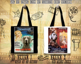 Weimaraner Print Tote Bag inspired by Movie Poster River of No Return and The Blue Angel Gift for Her by Nobility Dogs
