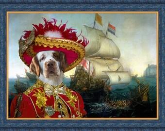 Clumber Spaniel Dog Art Pirate sea fight Print Clumber Spaniel Portrait Gift dog Pirate costume dogs in clothes art Custom Dog Portrait