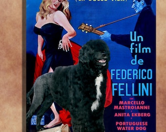 Portuguese Water Dog Vintage Movie Style Poster Canvas Print    La dolce vita   Perfect DOG LOVER GIFT Gift for Her Gift for Him Home Decor