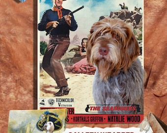 Wirehaired Pointing Griffon Korthals Pointing Griffon Vintage Canvas Print - The Searchers Movie Poster