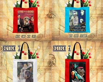 Scottish Deerhound Art Tote Bag Deerhound Dog Gifts inspired by Movie Poster  by Nobility Dogs