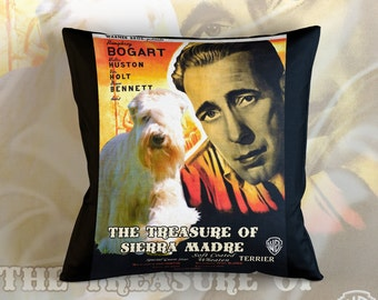 Soft Coated Wheaten Terrier Art Pillow The Treasure of the Sierra Madre Movie Poster  by Nobility Dogs
