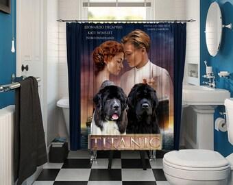 Newfoundland Art Shower Curtain, Dog Shower Curtains, Bathroom Decor   Titanic Movie Poster