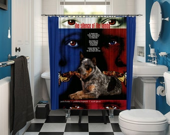 Australian Cattle Dog Art Shower Curtain, Dog Shower Curtains, Bathroom Decor - The Silence of the Lambs Movie Poster by Nobility Dogs