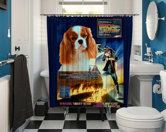 Cavalier King Charles Spaniel Art Shower Curtain, Dog Shower Curtains, Bathroom Decor - Back to the Future Movie Poster