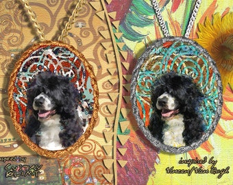 Portuguese Water Dog Jewelry Pendant   Brooch Handcrafted Porcelain by Nobility Dogs   Gustav Klimt and Van Gogh