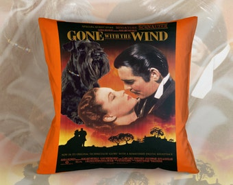 Miniature Schnauzer Art Pillow Case Throw Pillow - Gone with the Wind Movie Poster  Perfect DOG LOVER Gift for Her Gift for Him