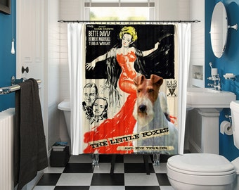 Fox Terrier Wire Art Shower Curtain, Dog Shower Curtains, Bathroom Decor - The Little Foxes Movie Poster