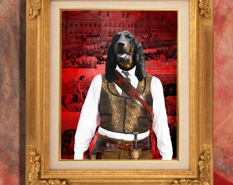 Black and Tan Coonhound Print Art Print 11 x 14 inch original illustration artwork giclee archival premium poster print By Nobility Dogs