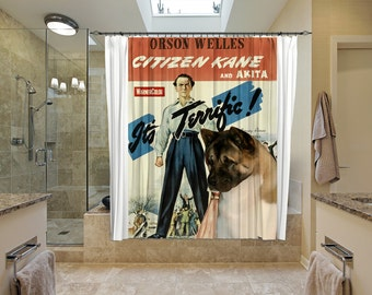 American Akita Art Shower Curtain, Dog Shower Curtains, Bathroom Decor - Citizen Kane Movie Poster