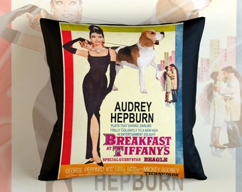 Beagle Art Pillow    Breakfast at Tiffany's Movie Poster   by Nobility Dogs