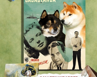 Shiba Inu Vintage Movie Style Poster Canvas Print  - Casablanca Movie Poster   Perfect DOG LOVER GIFT Gift for Her Gift for Him Home Decor