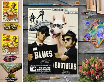 White Shepherd Dog Art The Blues Brothers Vintage Movie Poster Giclee Print  or Gallery wrapped Canvas ready to hang on the wall