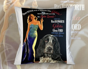 English Cocker Spaniel Art Pillow    Gilda Movie Poster   by Nobility Dogs