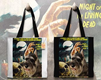 Schnauzer Art Tote Bag   Night of the Living Dead Movie Poster by Nobility Dogs