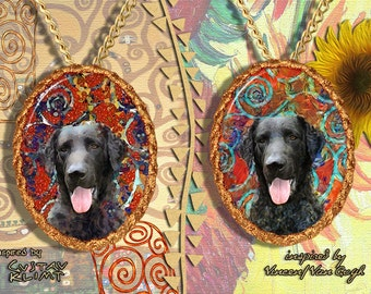Curly Coated Retriever Jewelry Pendant   Brooch Handcrafted Porcelain by Nobility Dogs   Gustav Klimt and Van Gogh Style