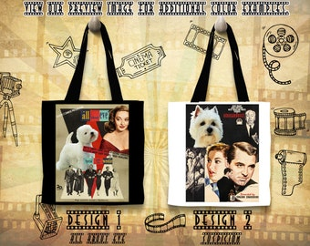 Westie Art Tote Bag West Highland White Terrier Gifts inspired by Movie Poster Suspicion and All About Eve Gift for Her by Nobility Dogs
