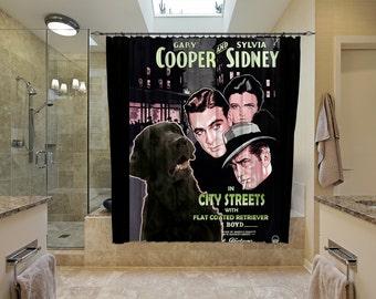 Flat Coated Retriever Art Shower Curtain, Dog Shower Curtains, Bathroom Decor  City Streets Movie Poster