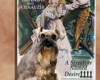 Schnauzer Vintage Art Poster Canvas Print  - A Streetcar Named Desire Movie Poster Perfect DOG LOVER GIFT Gift for Her Gift for Him