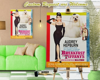 Maltese Art Breakfast at Tiffany's Vintage Movie Poster Dog Art Print by Nobility Dogs