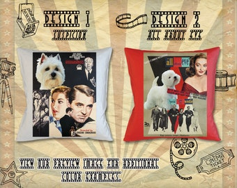 Westie Dog Pillow West Highland White Terrier Print inspired by Movie Poster Suspicion and All About Eve by Nobility Dogs