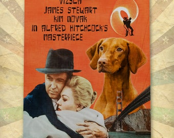 Vertigo Vizsla Dog Movie Art Poster Dog Painting Alfred Hitchcock Poster Custom Dog Portrait from Photo 1950s Movie Poster