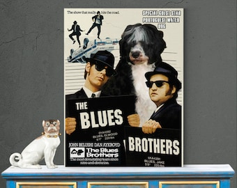 Portuguese Water Dog Art Print The Blues Brothers Movie Poster Dog Lover Christmas Gift