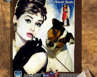 Jack Russell Terrier Art Vintage Poster Movie Style Canvas Print - Breakfast at Tiffany's