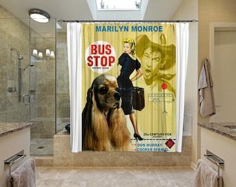 American Cocker Spaniel Art Shower Curtain, Dog Shower Curtains, Bathroom Decor - Bus Stop Movie Poster
