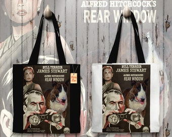 Bull Terrier Art Tote Bag   Rear Window Movie Poster by Nobility Dogs